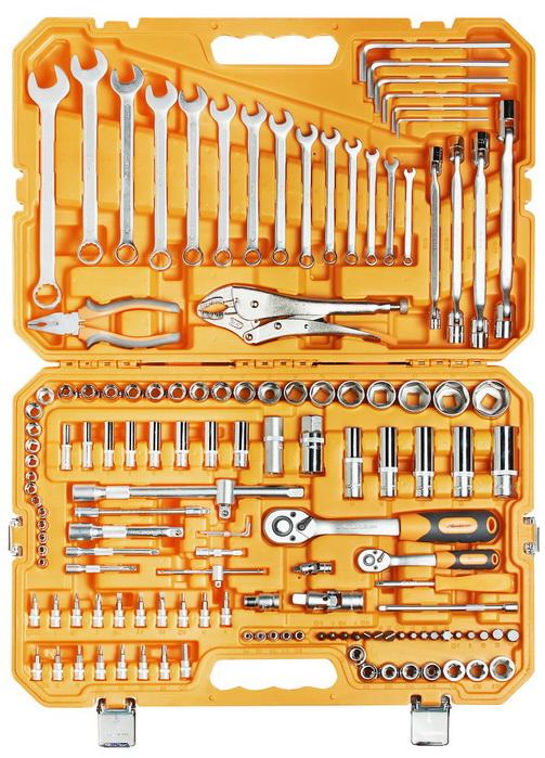 AIRLINE - Набор инструментов универсальный 137 предметов + фонарь, пласт.кейс