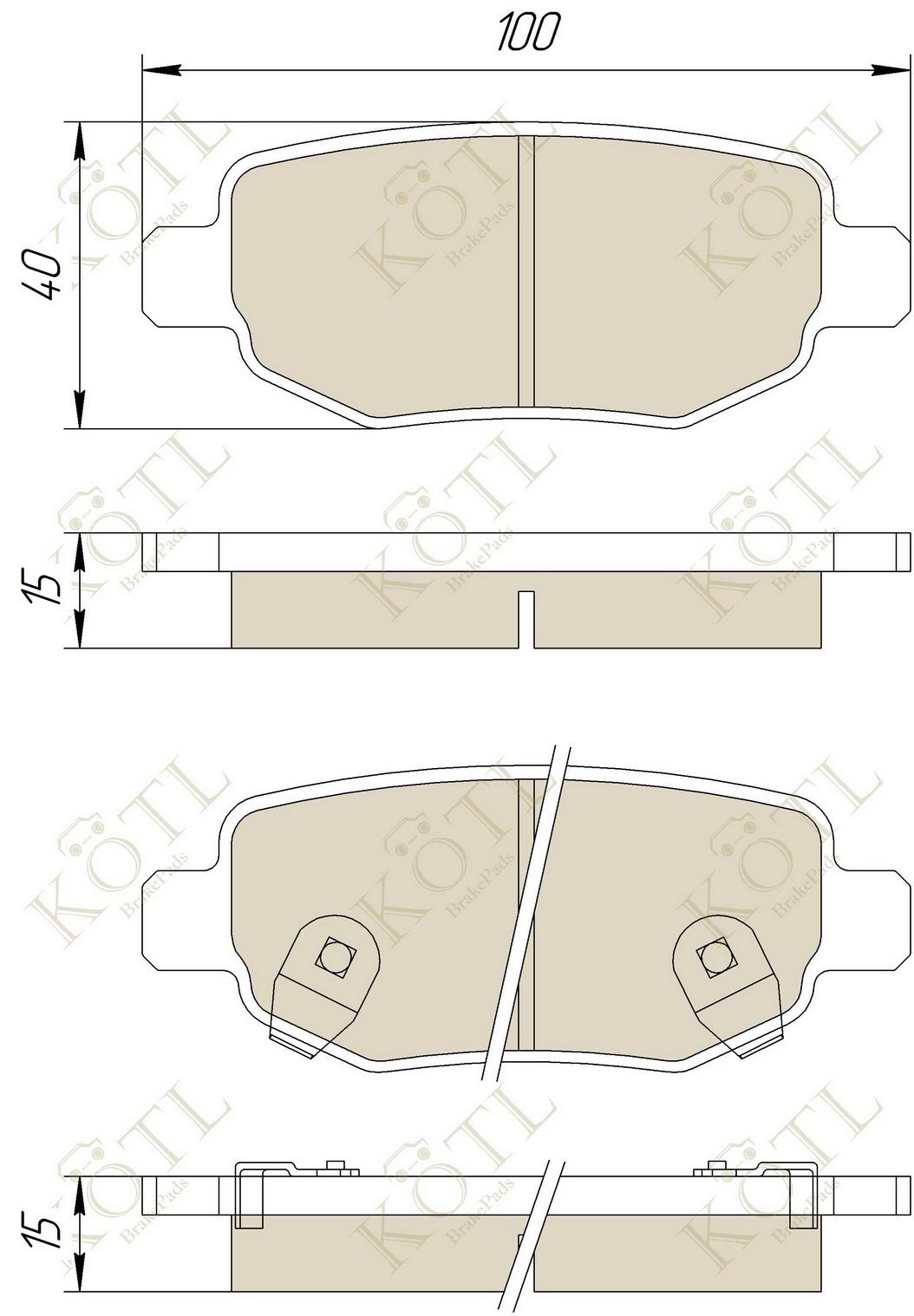 KOTL - Колодки тормозные chery(tiggo)-задние