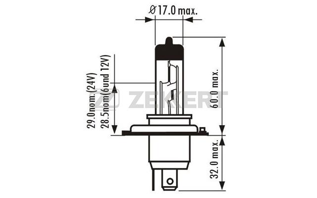 ZEKKERT - Лампа H4 12V 60/55W P43t