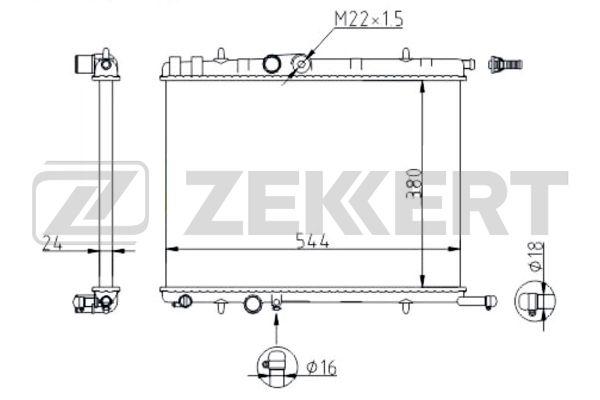 ZEKKERT - Радиатор охл. дв. Citroen Berlingo I, II 96-, C4 04-, Peugeot 206 98-, 307 00-, Partner 96-
